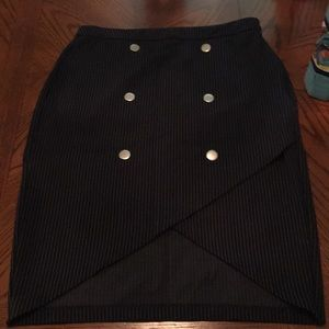 Dark Navy Skirt with Silver Disk Embellishments